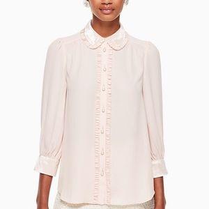 Kate Spade blush velvet trim pearl button blouse